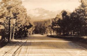 Woodland Park Colorado~Dirt Road~View of Pike's Peak~Sanborn 1940s RPPC
