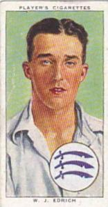 Player Vintage Cigarette Card Cricketers 1938 No 7 W J Edrich Middlesex