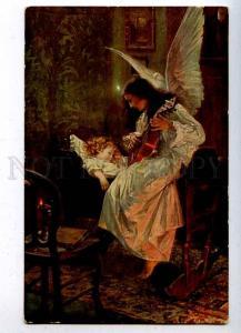 204597 RUSSIA Schwarz Lullaby Razsvet ANGEL old postcard