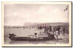 Old Postcard Deauville La Plage Fleurie Fun of Canoe Beach