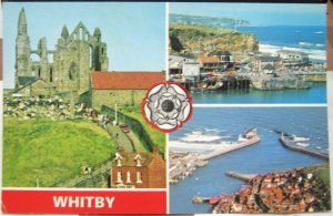 England Whitby Abbey East Cliff Harbour and Piers - posted