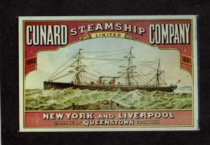 Cunard Co Steamship Steam Ship Steamer New York Liverpool England Queenstown