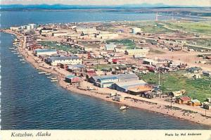 Kotzebue, Alaska Aerial View of Town, Water Continental Postcard