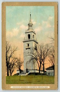 Boston Dorchester Heights MA~Evacuation Monument~c1910 Gold Border Postcard