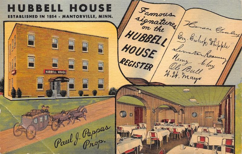 Mantorville MN Stage Coach~Hubbell House~Guests Mayo~Horace Greeley~Linen 1954