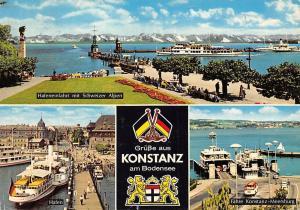 Konstanz am Bodensee, Hafeneinfahrt mit Schweizer Alpen Schiff Statue Boats