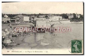 Old Postcard Pontaillac The Beach And The Restoration
