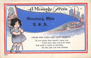 Osnaburg Ohio 1918 Postcard Flag From Girl You Left Behind Stark County