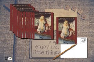 Hand-Designed Postcard Set of 6 Little Girl Saying Bedtime Prayers with Dolly
