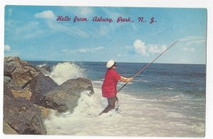 New Jersey Asbury Park Surf Fishing Vintage Postcard A. Devaney Photographer