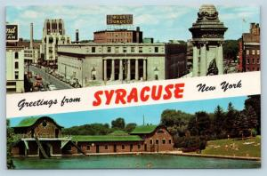 Postcard NY Banner Dual View Greetings from Syracuse New York Vintage P3