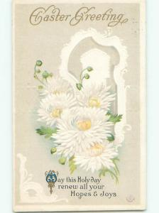 Pre-Linen easter BEAUTIFUL WHITE FLOWERS BESIDE WINDOW J2214