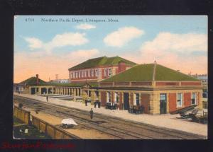 LIVINGSTON MONTANA NORTHERN PACIFIC RAILROAD DEPOT TRAIN STATION POSTCARD