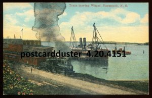 4151 - YARMOUTH NS Postcard 1920s Train Leaving Wharf. Steamers by McKinlay