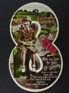 c1930's LITTLE GIRL WITH SKIPPING ROPE Cut Out Numeral 8th Birthday Postcard
