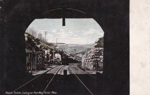 HOOSAC TUNNEL , Massachusetts, 1900-10s ; Looking out from West Portal