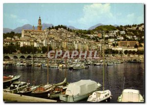 Postcard Moderne Menton Old Town and a corner of New Port