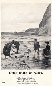 Little Drops Of Water Toy Model Boat In Sea Sand Grains Old Songcard Postcard