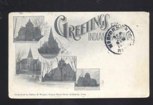 INDIANOLA IOWA GREETINGS FROM MULTI VIEW ANTIQUE VINTAGE POSTCARD