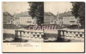 Stereoscopic Card - The Dauphine - Grenoble - Garden of the Hotel de Ville - ...