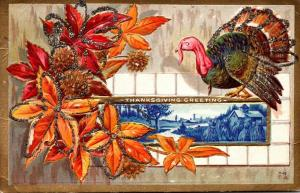 Thanksgiving With Turkey and Autumn Leaves