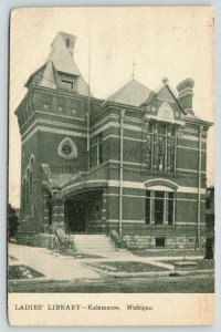 Kalamazoo Michigan~Ladies' Library~Bicycle @ Steps~Stained Glass Windows~c1905