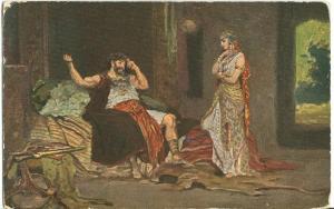 Biblical Scenes, Samson & Delilah, early 1900s unused