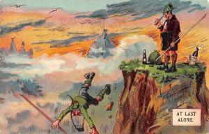At Last Alone Mountain Climbers Reach Peak~One Falls~Wine Bottles~1908 Artist