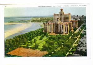 Edgewater Beach Hotel mailed PC Chicago to West Bend, Wisconsin 1953, Meter