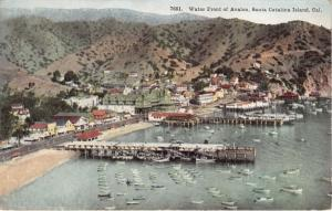 SANTA CATALINA ISLAND CA WATER FRONT OF AVALON~ELEVATED VIEW POSTCARD 1910s