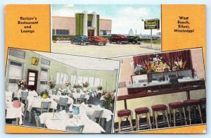 Postcard MS Biloxi West Beach Baricev's Restaurant & Lounge Interior Bar L13