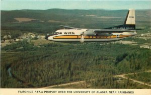 Alaska Airline Advertising Alaska 1960s in flight Postcard Fairchild F27-A 5603