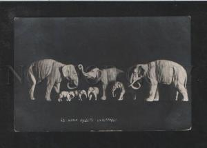 072544 Happy ELEPHANT Figures Vintage PHOTO