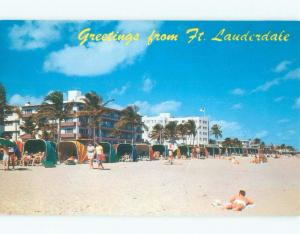 Unused Pre-1980 COLORFUL SUN SHELTERS AT BEACH Fort Lauderdale Florida FL d7075