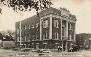 Richland Center WI Masonic Temple Real Photo Postcard