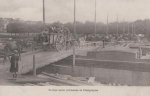 Bridge Upon Pinnaces at Compiegne French Antique WW1 Military Postcard