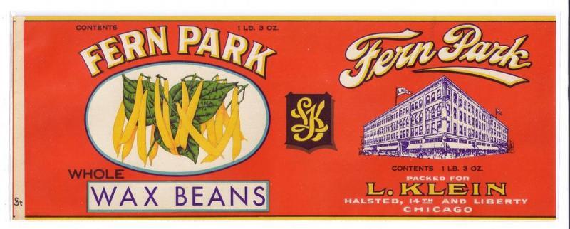 Fern Park Wax Beans L. Klein Chicago IL Vintage Can Label