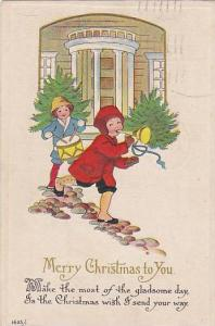 Merry Christmas to You Poem, Children palying a trumpet and a snare drum, PU-...