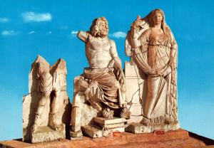 Turkey Izmir Poseidon and Demeter in Agora Museum Statues Postcard