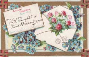 BIRTHDAY, PU-1909; Greetings, Violets, envelope with flowers, Swastikas