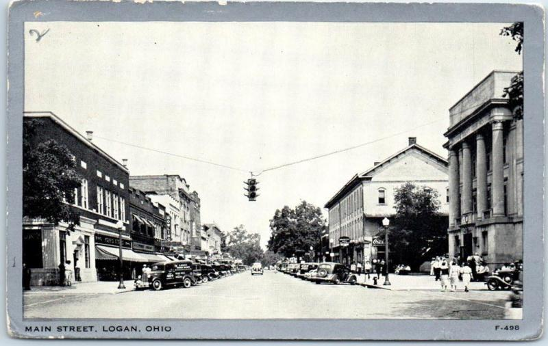 Logan, Ohio Postcard MAIN STREET Downtown Scene Wayne Paper c1940s Unused