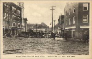 Montpelier VT 1927 Flood Damage VINTAGE EXC COND Postcard #24