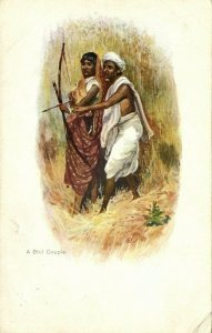 british india, Bhil Couple Hunting, Bow & Arrows (1899) Artist Signed Postcard