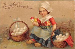 9390   Easter Dutch girl with baskets  of white eggs