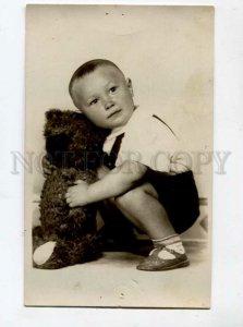 3098796 Boy w/ Huge TEDDY BEAR Toy Vintage REAL PHOTO
