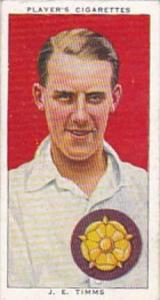 Player Cigarette Card Cricketers 1938 No 27 J E Timms Northamptonshire