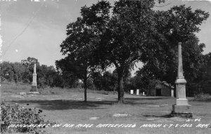 G77/ Pea Ridge Arkansas RPPC Postcard Battlefield c40s Monuments Civil War