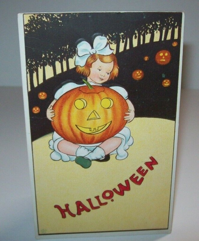 Halloween Postcard Original Stecher Antique Series 57 C Embossed Girl & Big JOL