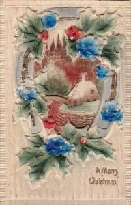 Christmas Landscape Scene With Beautiful Embossed Flowers