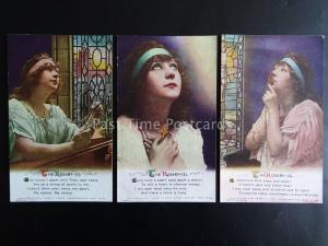 THE ROSARY (MISPRINTED 4985 BECAUSE NOT 4984) WW1 Bamforth Song Cards set of 3
